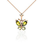 QP Jewellers 24in 1.15mm Butterfly Necklace with 0.60ct Peridot Pendant in 14K Rose Gold