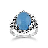 Gemondo 925 Sterling Silver Art Nouveau Milky Blue Jade & Marcasite Statement Ring