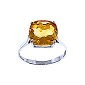QP Jewellers 3.60ct Citrine Rococo Cushion Ring in 14K White Gold