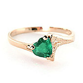QP Jewellers 1.0ct Emerald Devotion Heart Ring in 14K Rose Gold