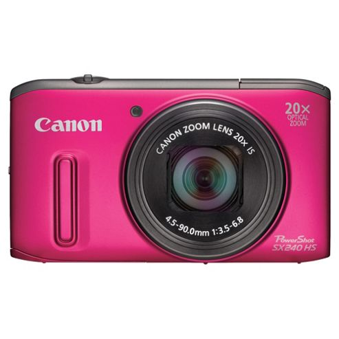 Canon PowerShot SX240 Digital Camera, Pink, 12.1MP, 20x Optical Zoom, 3.0 LCD Screen