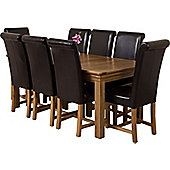Bordeaux Rustic Solid Oak 180 cm Dining Table with 8 washington Chairs (Brown)