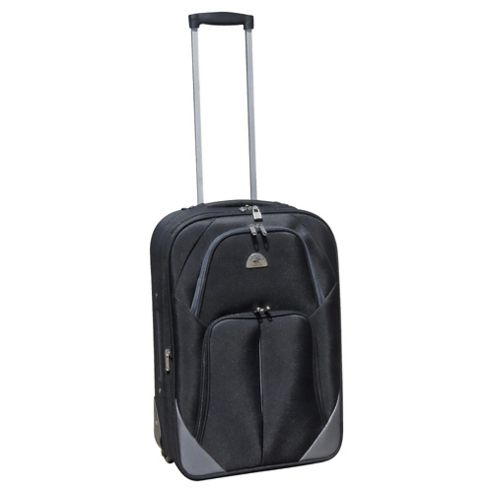 Beverly Hills Polo Club 2-Wheel Suitcase, Black & Silver Small