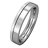 Platinum - 4mm Premium Flat Court with Fine Groove Part Satin Finish Band Commitment / Wedding Ring -