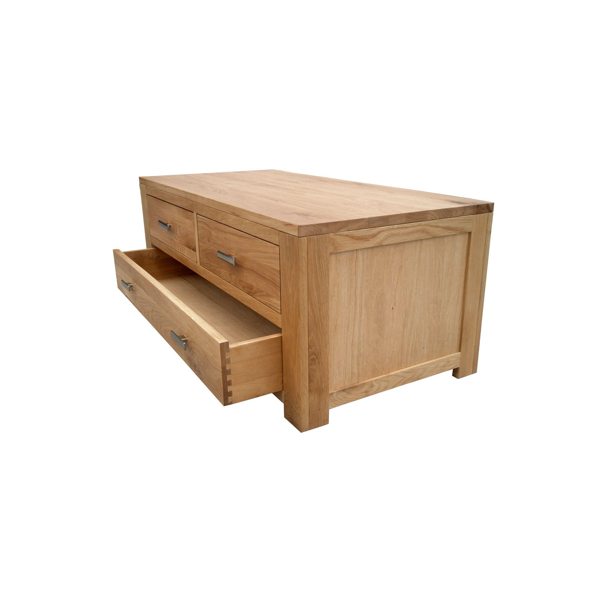 Home Zone Furniture Churchill Oak 2010 2 + 1 Drawer Coffee Table in Natural Oak at Tesco Direct