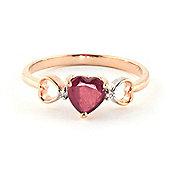 QP Jewellers Diamond & Ruby Trinity Heart Ring in 14K Rose Gold