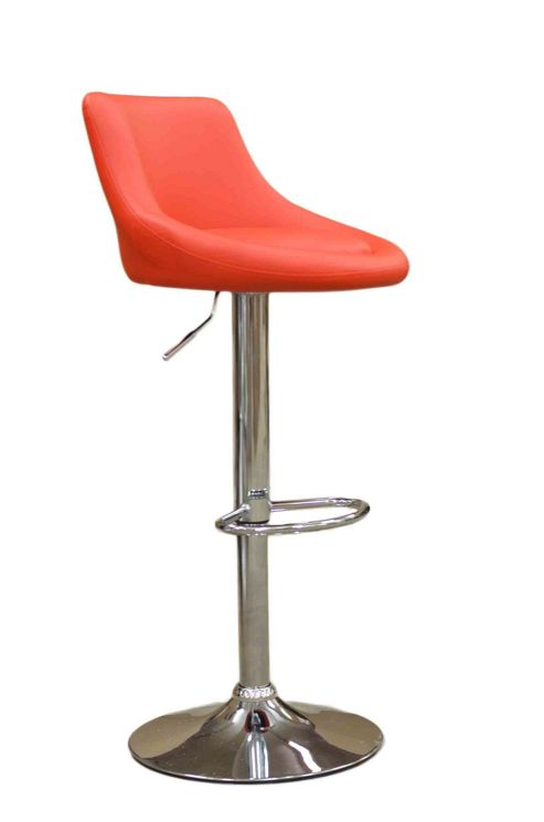 Ionion Red Faux Leather Bar Stool
