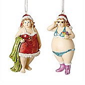 Set of Two Holiday Mrs. Claus Hanging Tree Figurine Decorations