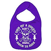 Dirty Fingers Son of a Biker Daddy's Original Born to Ride Bib Purple