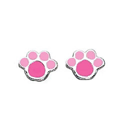 Pink Paw Print Stud Earrings