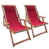 Bentley Garden Folding Balau Wooden Beach Pair Of Deck Chairs - Various Colours
