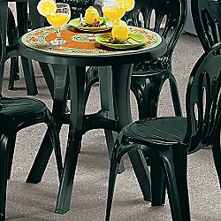 SCAB Pol Round Bistro Table with Mosaic Deco Top - Forest Green