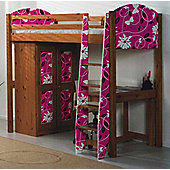 Pine Highsleeper Bed with Butterfly Design