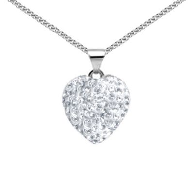 Jewelco London Sterling Silver Crystal - Crystal Love Heart White - Pendant - 18 inch chain included