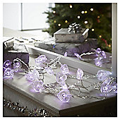 20 Battery Operated Heart Christmas Lights, Pink and White