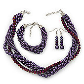Deep Purple, Metallic Purple Glass Pearl Bead Multi Strand Neckace, Bracelet & Drop Earrings Set In Silver Tone - 34cm Length/ 4cm Extender