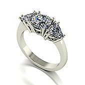 18ct Gold Round Brilliant and Trillion Cut Moissanite 3 Stone Ring