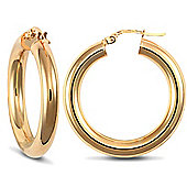 Jewelco London 9ct Yellow Gold 4mm Polished round-tube hoop Earrings