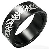 Urban Male Men's Black Stainless Steel Tribal Design Ring 8mm
