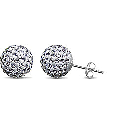 Jewelco London Sterling Silver Crystal 10mm white studs Shamballa Earrings