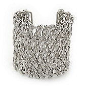 Wide 'Woven' Wire Cuff Bracelet In Silver Tone - up to 19cm wrist