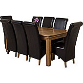 Bordeaux Rustic Solid Oak 180 cm Dining Table with 8 Montana Leather Chairs (Black)