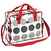 Caboodle Fun & Funky Changing Bag (Grey Spot with Red Trim)
