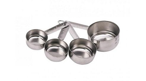 Kitchen Craft Stainless Steel Four Piece Measuring Cup Set.