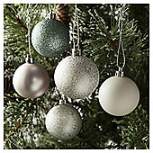 Tesco Baubles Mixed Silver, 20 Pack