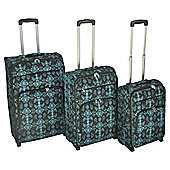 Tesco Damask 2-Wheel Teal 3pc Suitcase Set