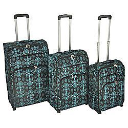 Tesco Damask 2-Wheel Teal 3pc Suitcase Set