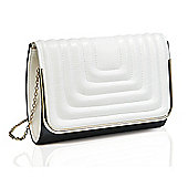 Black and White Stitch Detail Clutch Bag