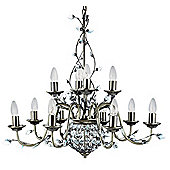 Double Tier Chandelier Light in Antique Brass Decorated with Clear Maple Crystals