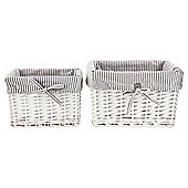 Tesco White Wicker Grey Striped Lined Baskets 2Pk