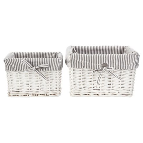 Tesco Wicker Baskets Pack of 2, Grey Stripe Fabric Lined, White