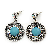 Burn Silver Round Diamante Turquoise Coloured Acrylic Drop Earrings - 5cm Length