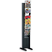 Fast Paper Display Floorstanding 10 Compartment W302xD382xH1607mm Black Ref 278.01