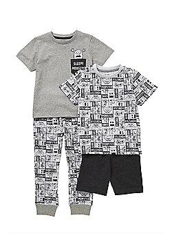 F&F 2 Pack of Sleepy Monster Pyjamas - Grey