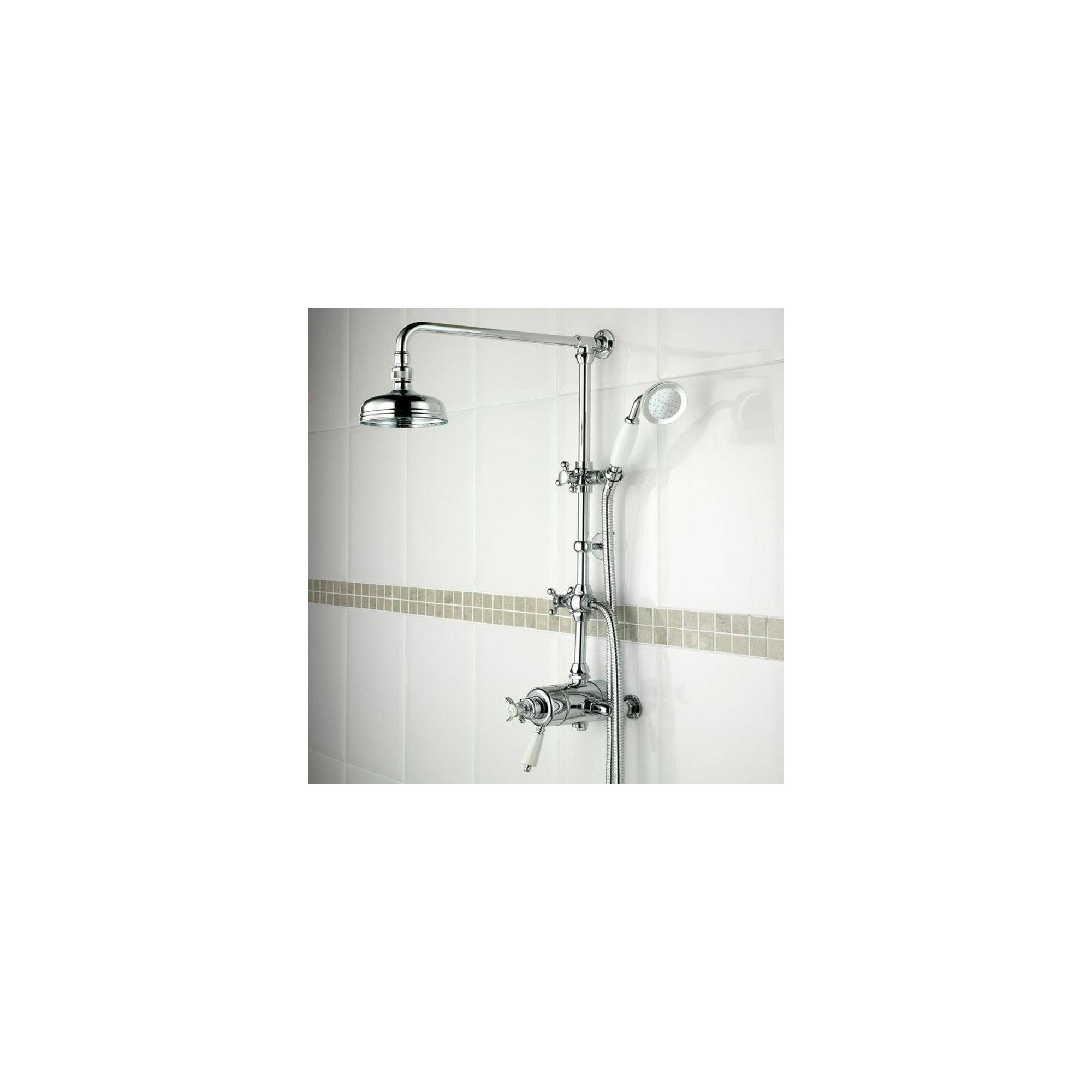 Bristan 1901 Thermostatic Surface Mounted Shower with Rigid Riser and Divertor to Shower Handset Chrome Plated at Tesco Direct