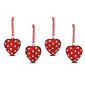 Set of Four Heart Shaped Glass Christmas Baubles In Red With White Glitter Spots