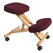 Modal Kneeling Chair with Wood Frame - Burgundy