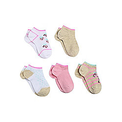 F&F 5 Pair Pack of Trainer Liners shoe Child 06 - 08 1/2 Multi