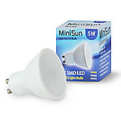 Pack of 10 Minisun 5W SMD LED Thermal Plastic Warm White GU10 Bulbs - 3000K