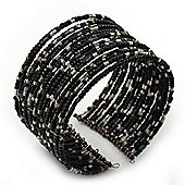 Boho Pastel Black/Grey/Silver Glass Bead Cuff Bracelet - Adjustable (To All Sizes)