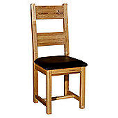 Kelburn Furniture Bordeaux Ladderback Chair with Faux Leather Seat in Medium Oak Stain and Satin Lacquer