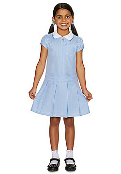 F&F School Girls Plus Fit Gingham Zip Dress with Scrunchie - Blue
