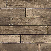 Brown Wooden Plank Effect Wallpaper - Fine Decor