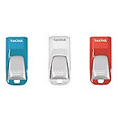 SanDisk Cruzer Edge USB 2.0 16GB 3-Pack Colours (Red, Blue, White)
