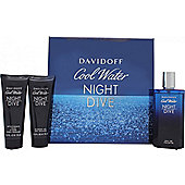 Davidoff Cool Water Night Dive Gift Set 125ml EDT + 75ml Shower Gel + 75ml Aftershave Balm For Men