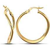 Jewelco London 9ct Yellow Gold Square Tube wavy shape hoop Earrings with flattened lower section